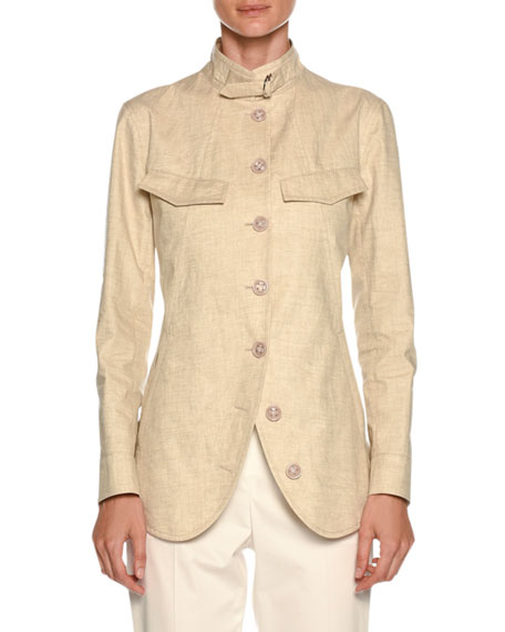 Giorgio Armani Stand-Collar Button-Front Coated Linen Utility