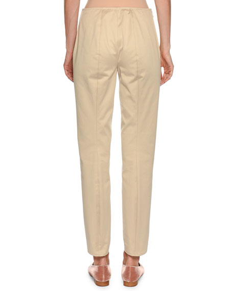 Straight-Leg Side-Zip Cotton Pants