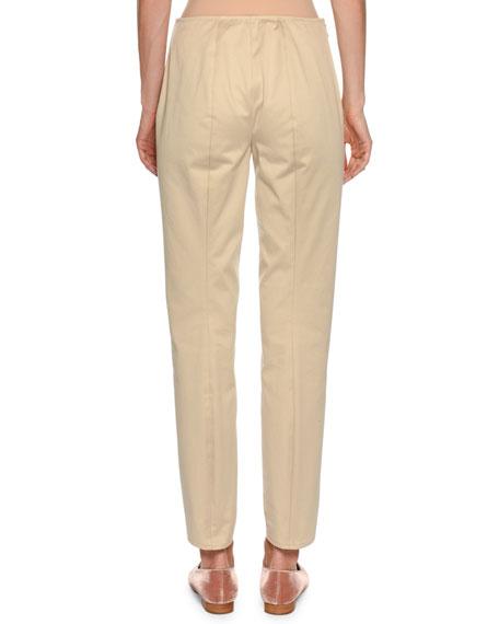 Straight-Leg Side-Zip Cotton Pants