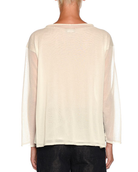 Rolled-Collar Long-Sleeve Double-Layer Knit Top