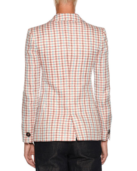 Multicolor Check One-Button Linen Jacket
