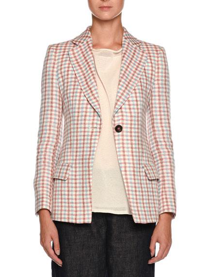 Multicolor Check One-Button Linen Jacket