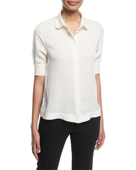Emporio Armani Button-Front Half-Sleeve Silk Swing Blouse