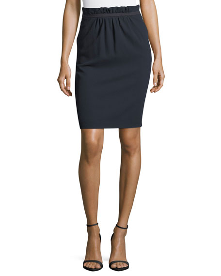 Emporio Armani Paperbag Waist Stretch-Wool Pencil Skirt