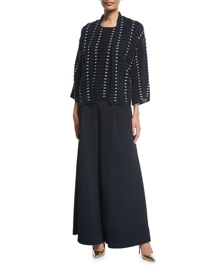 Mid-Rise Wide-Leg Chevron Knit Jacquard Pants