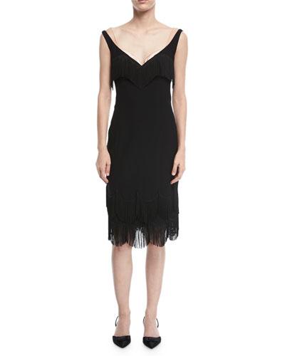 Wide-Neck Fringe-Trim Sheath Dress