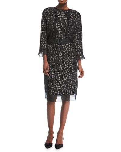3/4-Sleeve Dot Jacquard Dress