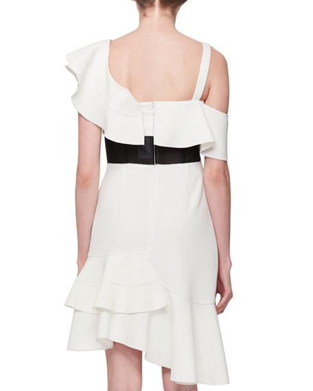 One-Shoulder Inset-Waist Ruffle Dress