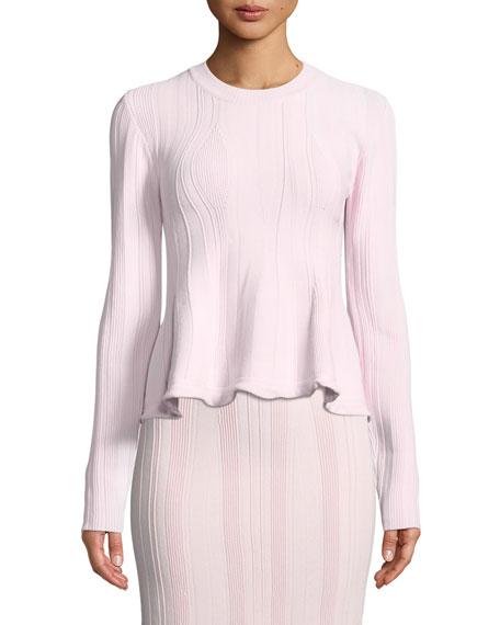 Proenza Schouler Long-Sleeve Ribbed Peplum Sweater
