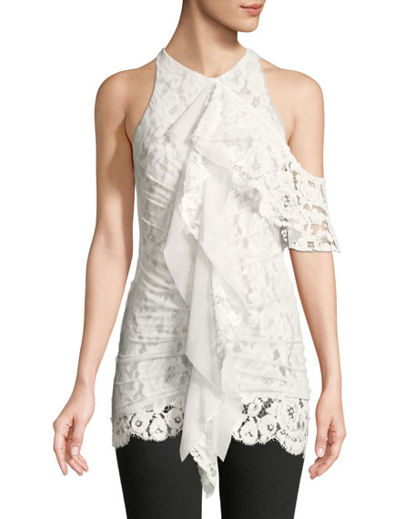 Proenza Schouler One-Shoulder Ruffle Front Lace Top and