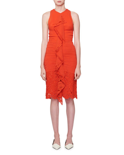 Sleeveless Ruched Georgette Dress with Lace