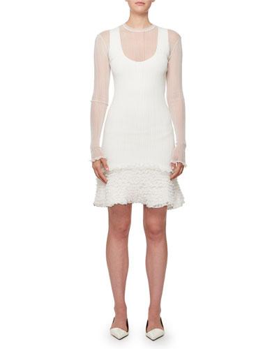 Sheer Rib Pucker-Knit Ruffled-Hem Mini Dress