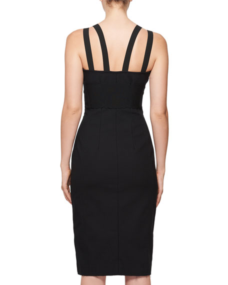 Sleeveless Crepe Sheath Cocktail Dress