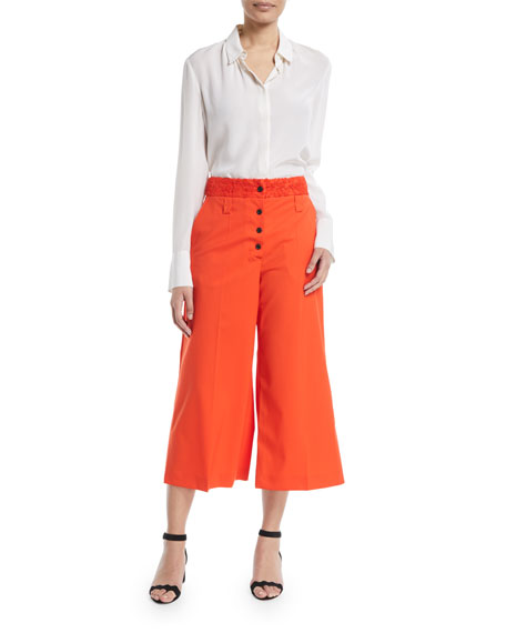 Lace-Waist Flare Cropped Culotte Pants