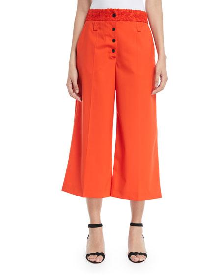 Proenza Schouler Lace-Waist Flare Cropped Culotte Pants