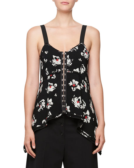 Blossom-Print Hook-Front Camisole Top