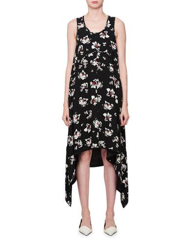 Sleeveless Scoop-Neck Blossom-Print Dress