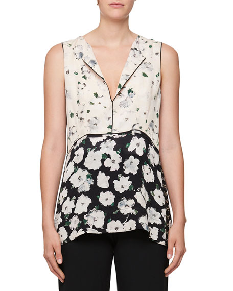 Split-Neck Sleeveless Floral-Print Blouse