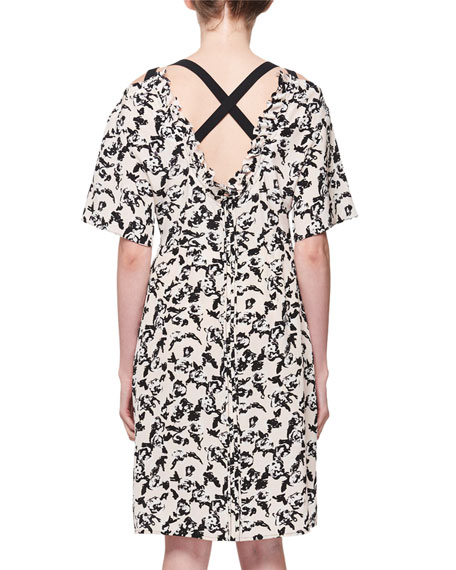 Scribble-Rose Crisscross-Back Silk Dress