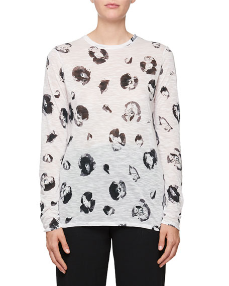 Long-Sleeve Blossom-Print Cotton T-Shirt