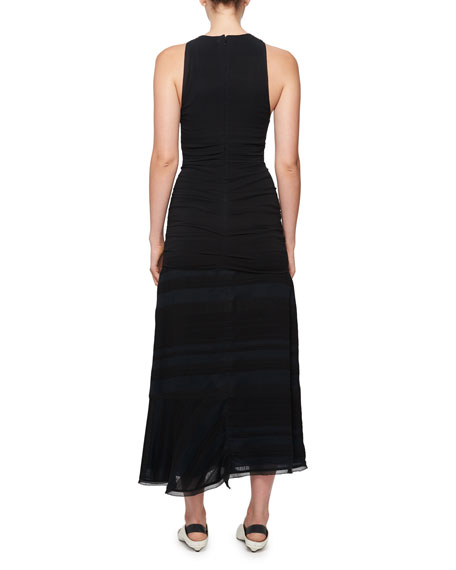 Long Striped Cloque Dress w/ Chiffon Overlay