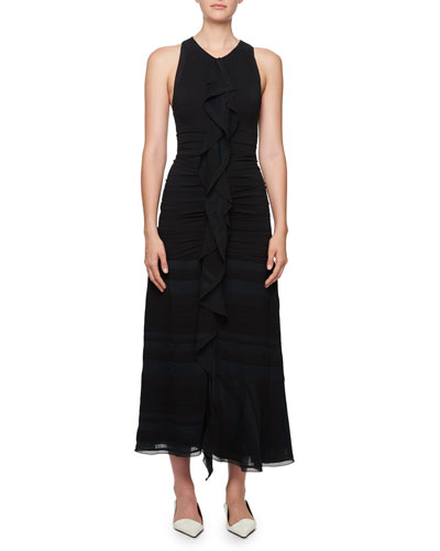 Long Striped Cloque Dress w/ Chiffon Overlay