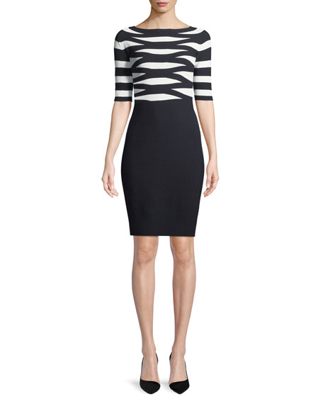 Emporio Armani Boat-Neck Elbow-Sleeve Striped Top Fitted Knit