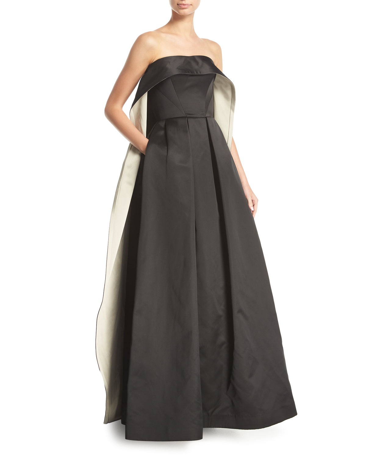 Zac Posen Strapless Cape-Back Evening Gown | Neiman Marcus