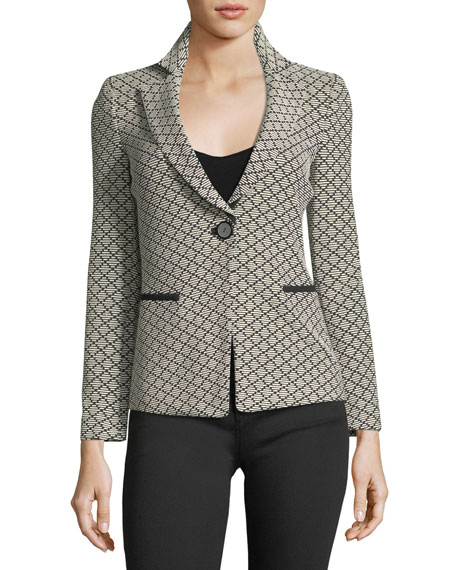 Emporio Armani One-Button Diamond-Jacquard Knit Jacket