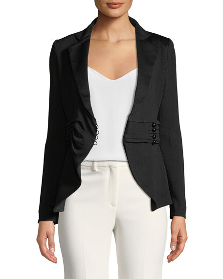 Pleated-Waist Notched-Lapel Chevron-Knit Jacket