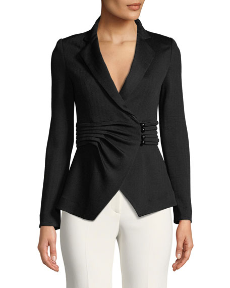 Emporio Armani Pleated-Waist Notched-Lapel Chevron-Knit Jacket
