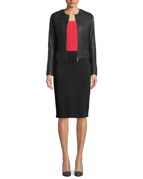 Chevron-Knit Straight Skirt