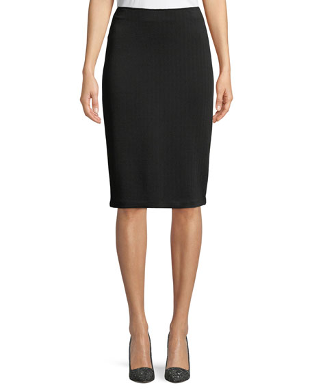 Emporio Armani Chevron-Knit Straight Skirt