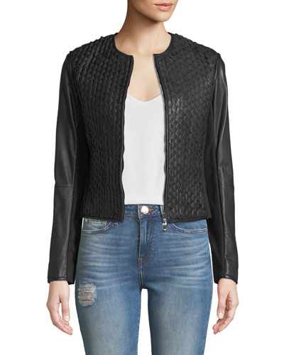 Zip-Front Stretch-Leather Cropped Jacket