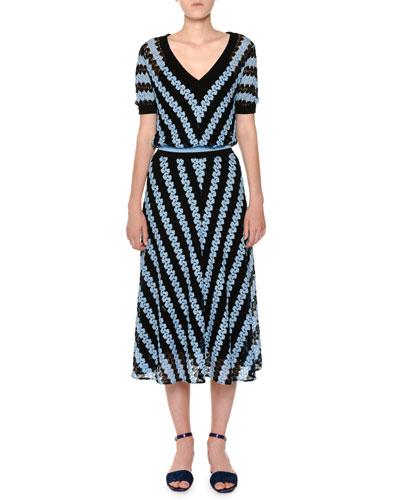 V-Neck Short-Sleeve Chevron Woven Midi Dress