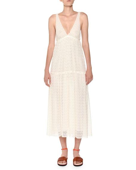 Deep-V Sleeveless Lace Maxi Dress