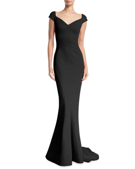Sweetheart-Neck Bonded Jersey Evening Gown