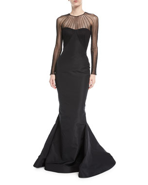 709151ee33 Zac Posen Tulle Illusion Long-Sleeve Silk Faille Trumpet Evening Gown