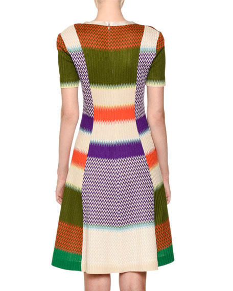 Short-Sleeve Fit-and-Flare Multicolor Knit Dress