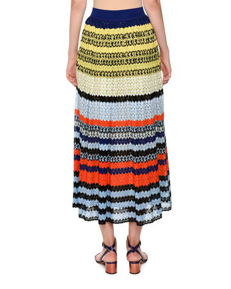 Multicolor Lace Knit Full-Length A-Line Skirt