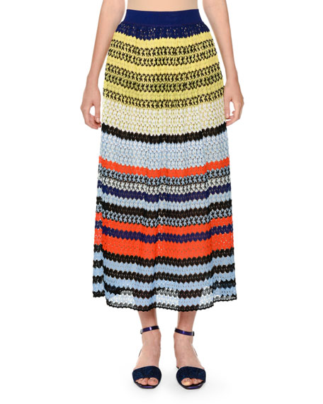 Missoni Multicolor Lace Knit Full-Length A-Line Skirt