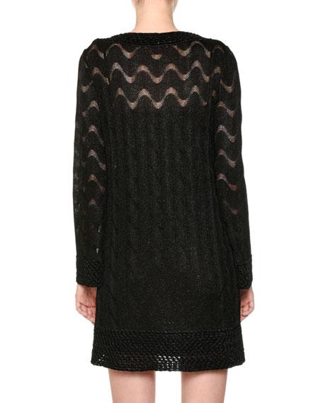 V-Neck Long-Sleeve Metallic-Knit Tunic Dress