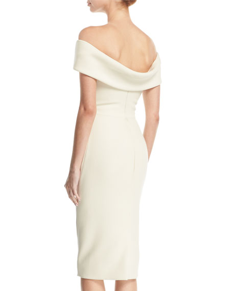 Off-the-Shoulder Drape-Back Sheath Cocktail Dress