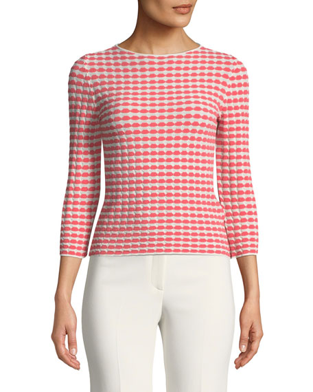 Emporio Armani Bracelet-Sleeve Patterned Jersey Knit Top