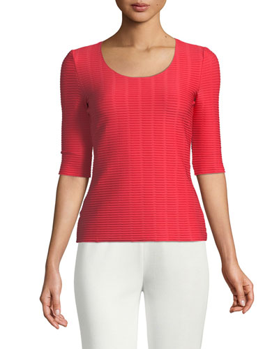 Half-Sleeve Ribbed Underpinning Top
