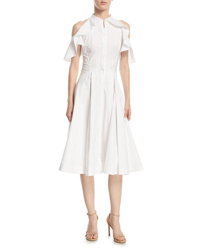 Ruffled-Frill Cold-Shoulder Poplin Shirtdress