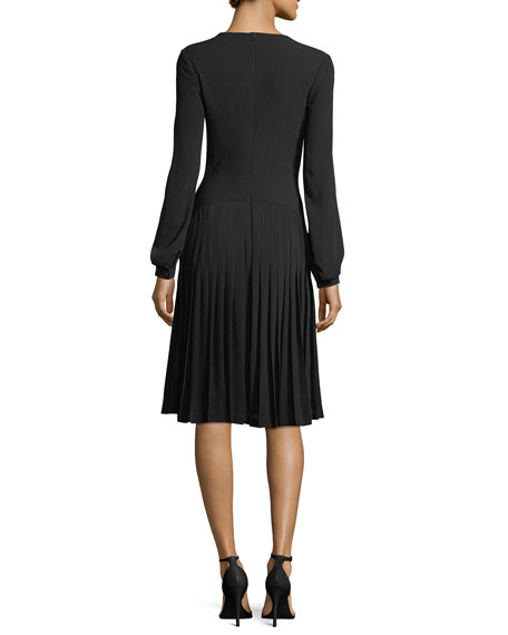 Tie-Neck Long-Sleeve Crepe Dress