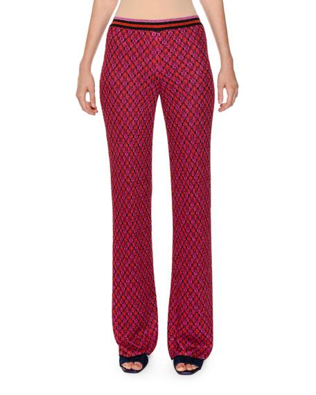 Multicolor Wide-Leg Knit Pants