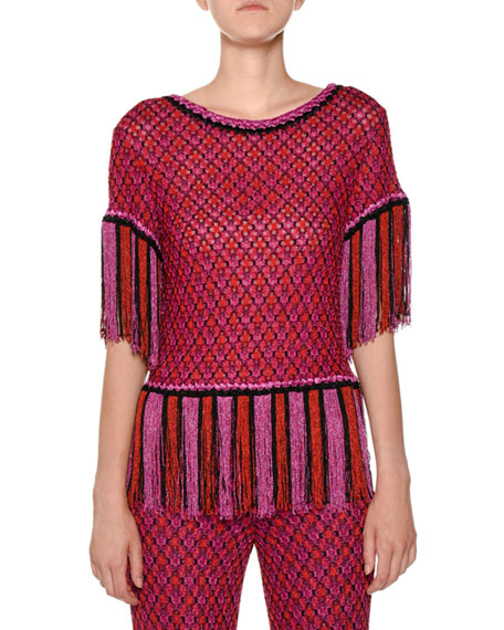 Short-Sleeve Fringe-Hem Multicolor Knit Top