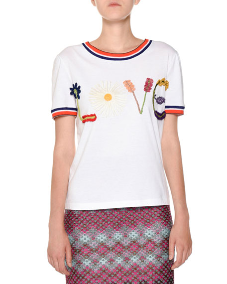 Missoni Crewneck Embroidered Love Short-Sleeve Cotton T-Shirt and